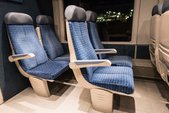 Six blue train seats  of a French train Royalty Free Stock Photo