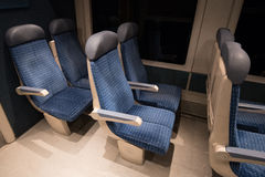 Six blue train seats  of a French train Stock Photo