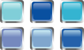 Six blue web buttons Stock Photos