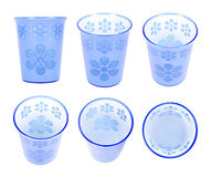 Six blue and white plastic cups Stock Images