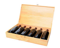 A Six Bottle Case of Red Wine Bottles Stock Photography