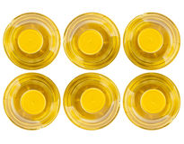 Six bottle of vegetable oil, top view Stock Photos