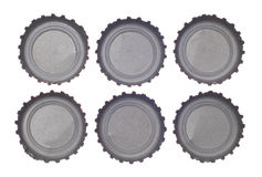 Six Bottlecap's Viewed from Above Royalty Free Stock Photography