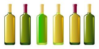 Six bottles of white wine Stock Photo