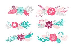 Six bouquet flowers and floral elements isolated on white background in Scandinavian style. Hand drawn vector. Illustration Royalty Free Stock Photography