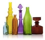 Six bouteilles en verre images stock