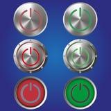 Six boutons de puissance en métal sur un fond bleu Photos libres de droits