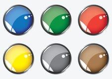Six boutons lustrés Images libres de droits