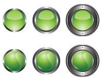Six boutons verts illustration de vecteur