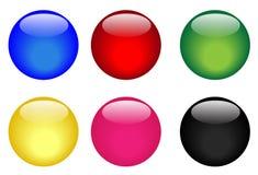 Six boutons vitreux colorés Image libre de droits