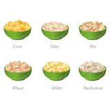Six bowls with different cereal flakes part one Royalty Free Stock Photography