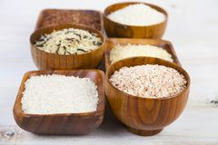 Six bowls with different varieties of rice Royalty Free Stock Photography