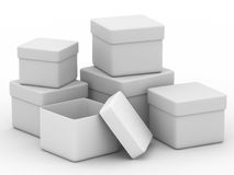 Six boxes on white background Stock Photos