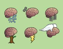 Six brains illustration. Six different brain illustration showing various concepts like water, clockwork, spring, growth, power and flights of fancy. Green Royalty Free Stock Image
