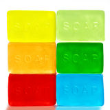 Six Brightly Colored Bars of Soap Royalty Free Stock Image