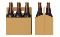 Six brown beer bottles in cardboard boxk. Side view and front view. 3D render, isolated on white background. Six brown beer bottles in white corton pack. Side Royalty Free Stock Photos