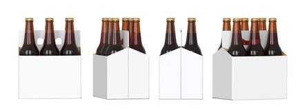 Six brown beer bottles in white corton pack. Four Different views 3D render, isolated on white background. Stock Photos