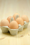Six brown eggs Royalty Free Stock Photography