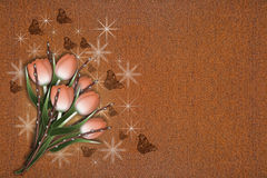 Six brown tulips with rust background Royalty Free Stock Photos