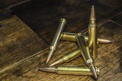 Six Bullets. From a high powered centerfire rifle Stock Photos