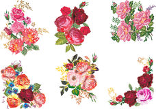 Six bunch of roses collection. Illustration with rose decoration isolated on white background Vector Illustration