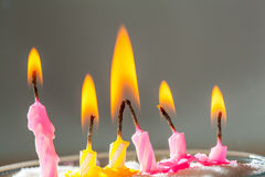 Six burning birthday  candles Stock Images