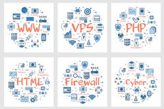 Six business banners - WWW, PHP, HTML, firewall. Vector six business square banners - WWW, VPS, PHP, HTML, firewall and cyber concept. Coding, programming stock illustration