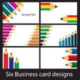 Coloured Pencil Designs. Six business card designs using coloured pencils Stock Photo
