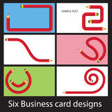 6 pencil bus cards. Six business card designs using pencil shapes Stock Photography