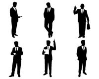 Six businessman silhouettes Royalty Free Stock Images