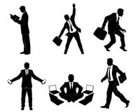 Six businessman silhouettes Stock Photos