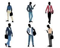Six businessmen silhouettes Royalty Free Stock Images