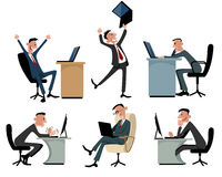 Six businessmen at workplaces. Vector illustration of a six businessmen at workplaces Royalty Free Stock Images
