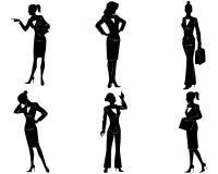Six businesswoman silhouette Royalty Free Stock Photos
