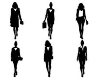 Six businesswomen going. Vector illustration of a six businesswomen going Royalty Free Stock Photography