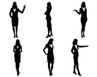Six businesswomen silhouettes Royalty Free Stock Images