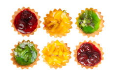 Six cake with fruits Royalty Free Stock Photography