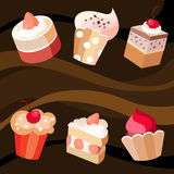 Six cakes set. Vector illustration  of a six cakes set Royalty Free Stock Images