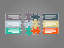 Six calibres infographic coloré de présentation de puzzle de morceau illustration de vecteur