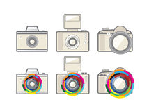 Six camera with colourful zoom  Stock Photo
