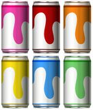 Six cans with different colors. Illustration Stock Images