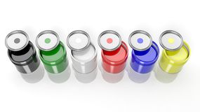 Six cans full with various Royalty Free Stock Photos