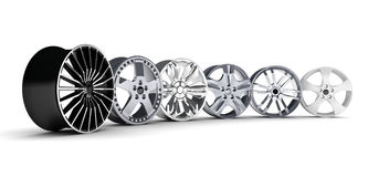 Six car rims Stock Photography