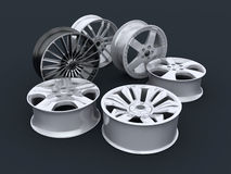 Six car rims Stock Photos