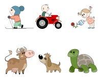 Six caractères du ` s d'enfants images stock