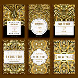 Six Cards With Golden Ornaments Royalty Free Stock Image