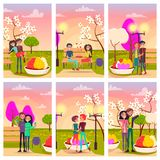 Six Cards of Loving Couples at Flowering Spring. Park vector illustration. Young people with ice cream, red gift with hearts, ruddy rose Stock Image