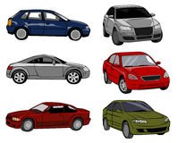 Six cars on a white background Stock Photography