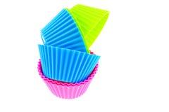 Six carters multicolores de pain de silicones Image stock