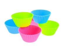 Six carters multicolores de pain de silicones Images stock